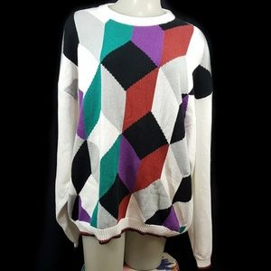 VTG 80s Geometric Cube Hand Intarsia Knit Sweater